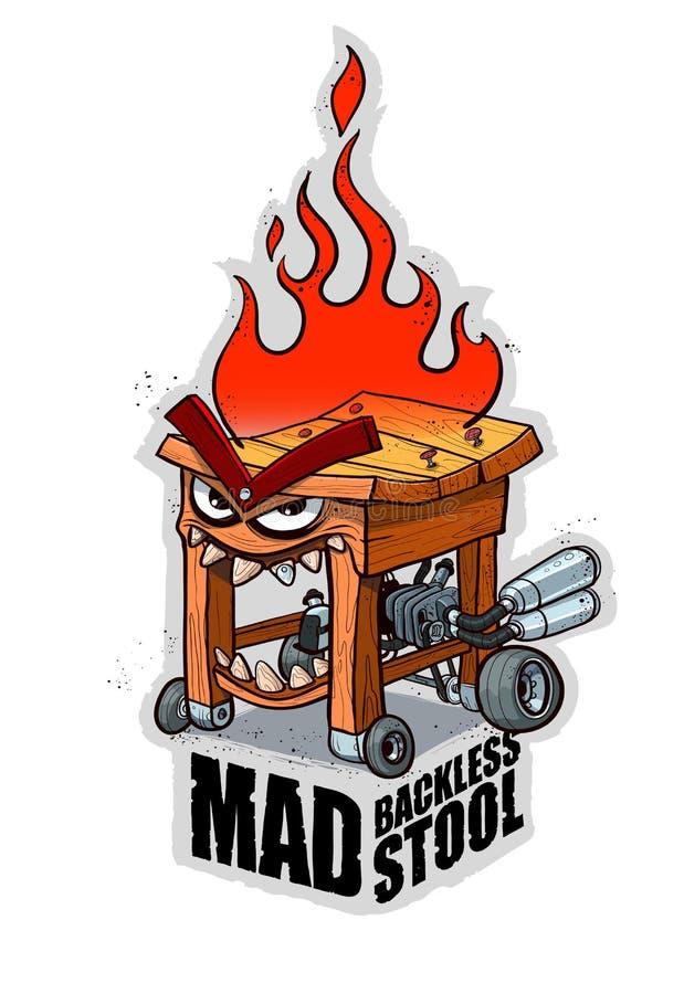 Mad backless stool stock photo