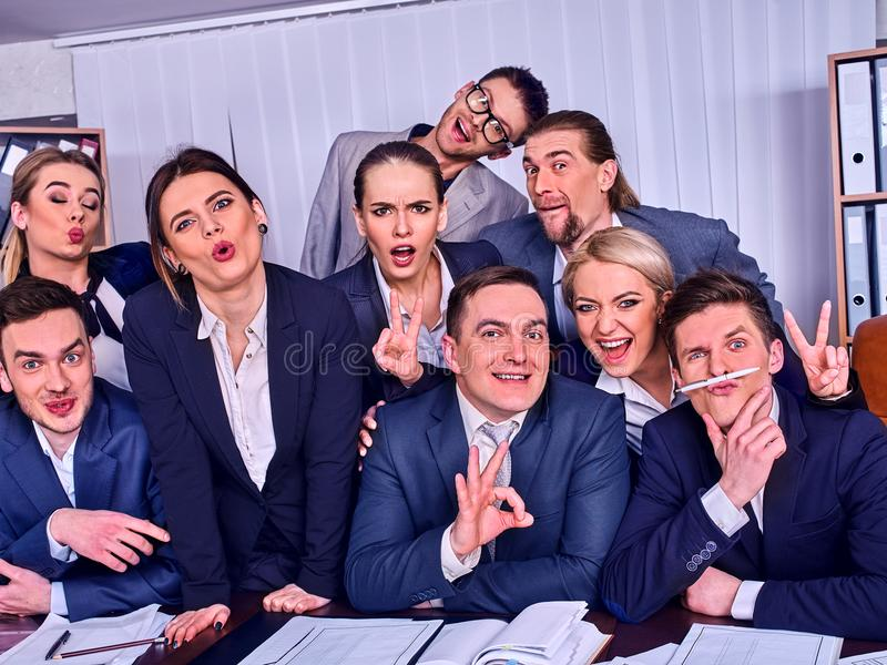 Business people office life of team people are happy with thumb up. royalty free stock photos
