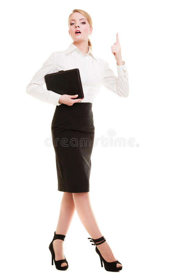 Mad businesswoman teacher shaking finger. Full length of mad businesswoman boss. Furious teacher woman shaking an admonitory finger isolated. Studio shot stock images