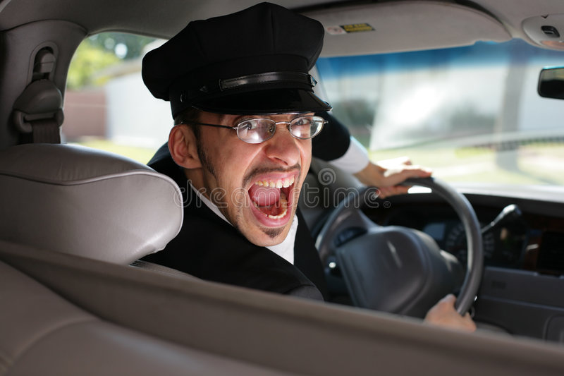 Mad chauffeur. Mad driver in the car royalty free stock photo