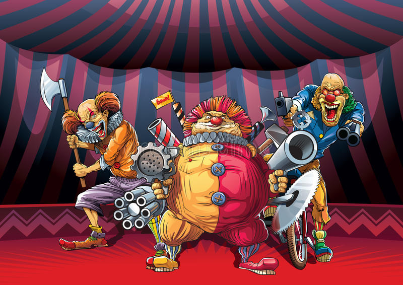 Mad clowns. Killers with different weapon stock illustration