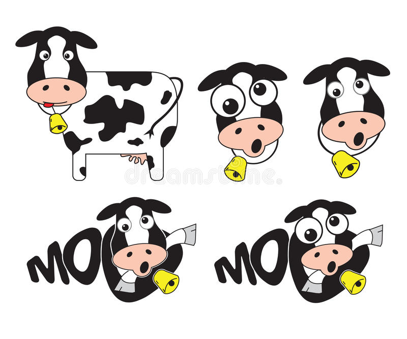 Mad cow. Mad crazy funny cow with bell stock illustration