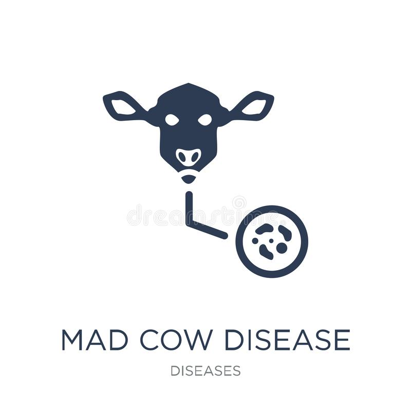 Mad cow disease icon. Trendy flat vector Mad cow disease icon on royalty free illustration