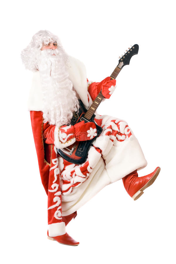 Ded Moroz plays on broken guitar. Isolated stock photo