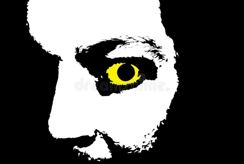 Mad eye stock photo