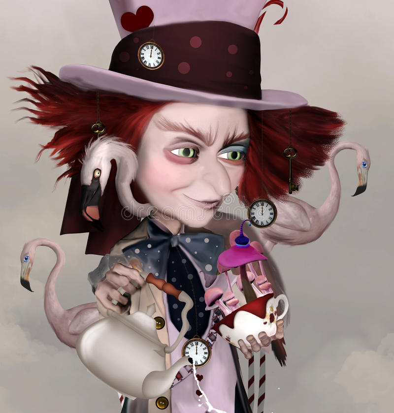 Mad hatter. Wonderland series - Mad hatter with teapot, cups and flamingos vector illustration