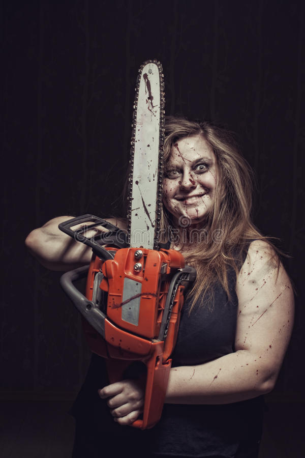Mad maniac girl stock photography