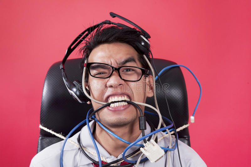 Download Mad operator with cables stock image. Image of background - 23890415