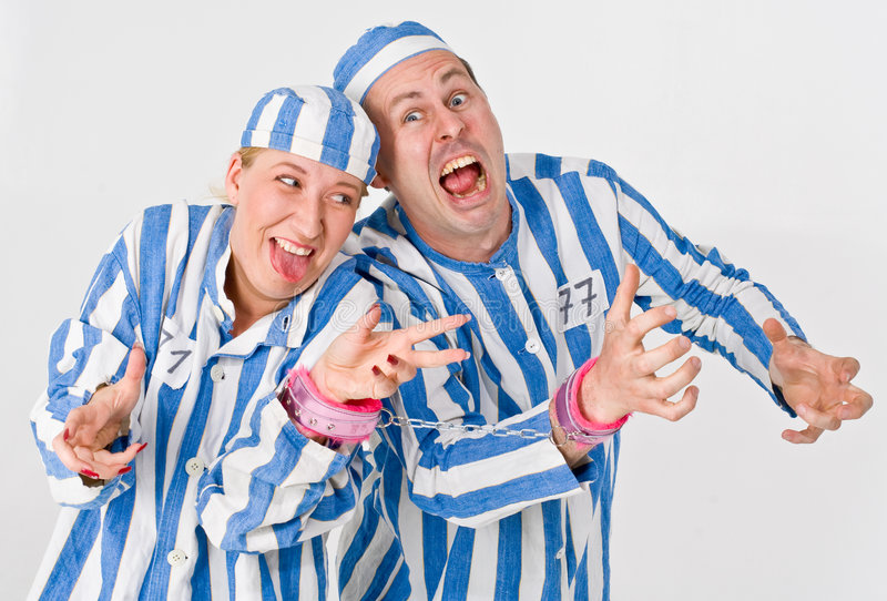 Mad Prisoners. Theatrical actors posing as mad/crazy prisoners royalty free stock photography
