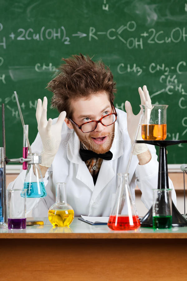 Mad professor gestures large amount. With hands royalty free stock photography