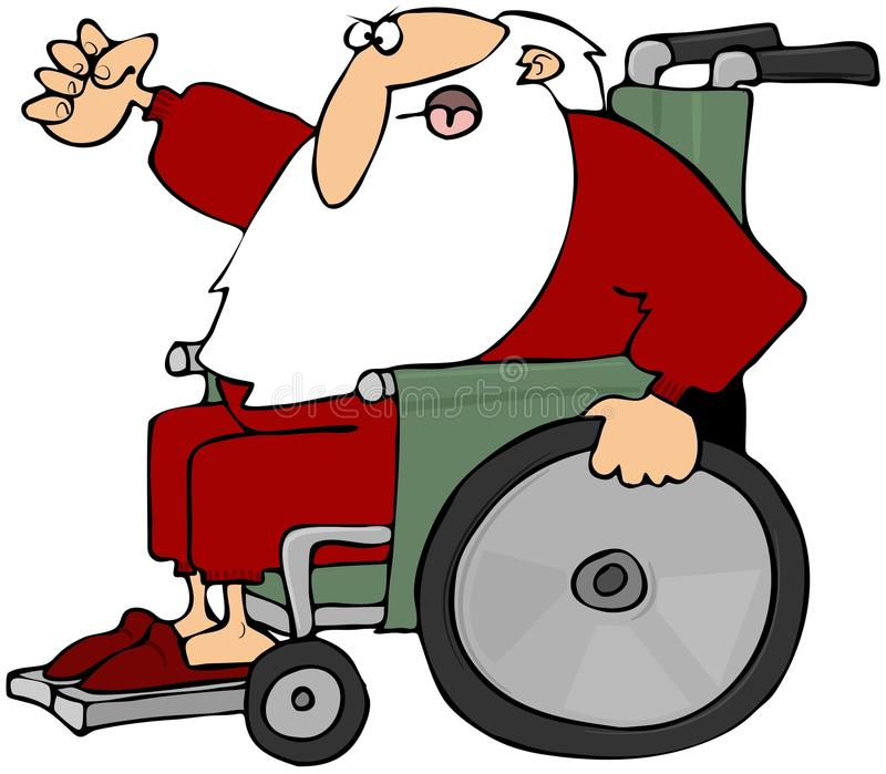 Download Mad Santa In A Wheelchair stock illustration. Illustration of illustration - 16890601