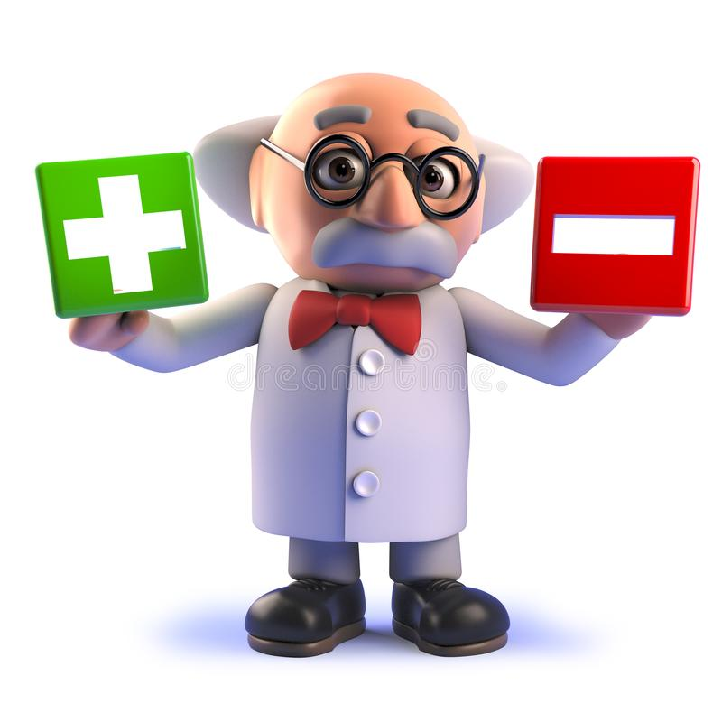 Free Mad Scientist Cartoon Character In 3d Holding A Plus And Minus Symbol Royalty Free Stock Photo - 149523345