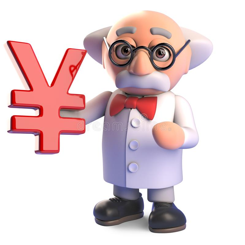 Mad professor scientist character holding a Japanese or Chinese Yen or Yuan symbol, 3d illustration. Render vector illustration