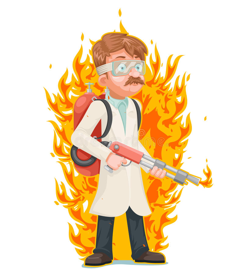 Mad scientist with flamethrower cleansing purification by fire destruction science cartoon character vector illustration. Mad scientist flamethrower cleansing royalty free illustration
