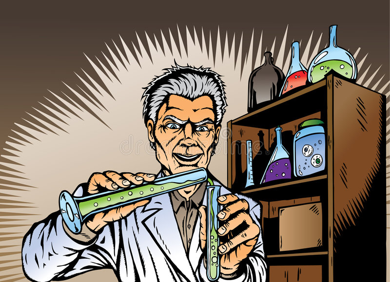 Mad Scientist mixing chemicals, up to no good. stock illustration
