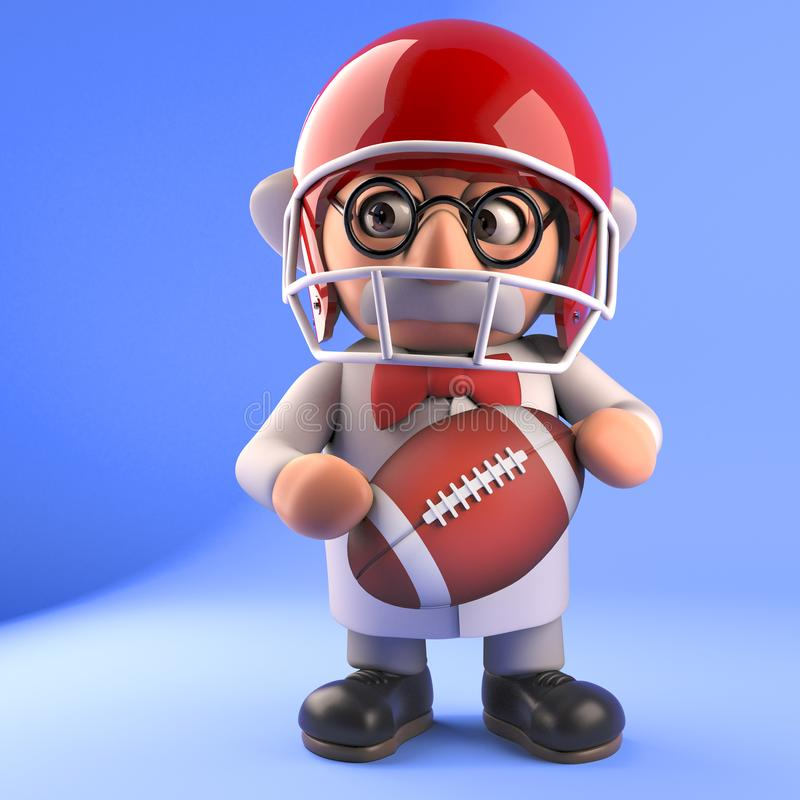 Mad scientist professor in 3d playing American football, 3d illustration. Render royalty free illustration