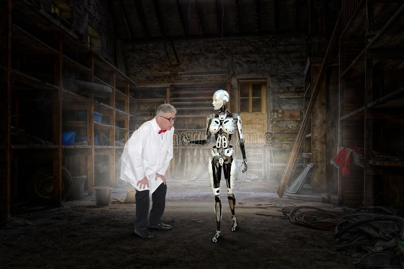 Mad Scientist, Woman Robot, Science Fiction. Surreal science fiction fantasy. Abstract concept of a mad scientist who has invented a female robot android. The stock image
