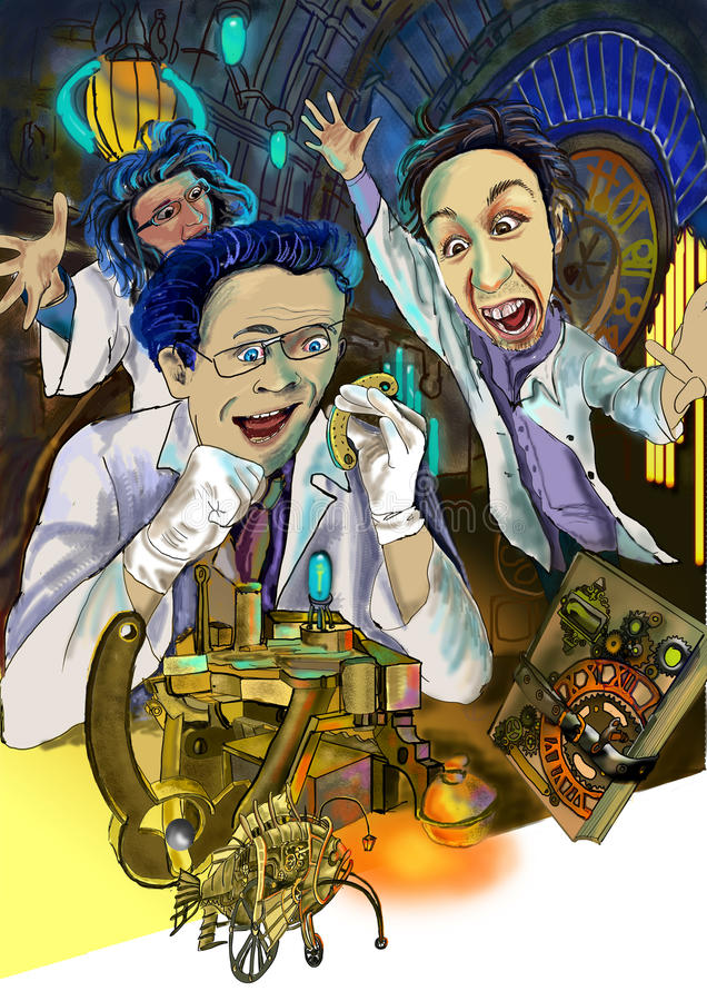 Mad scientists working at the laboratory royalty free stock image