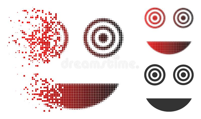 Decomposed Pixelated Halftone Mad Smiley Icon. Mad smiley icon in sparkle, dotted halftone and undamaged entire versions. Pixels are composed into vector sparkle vector illustration