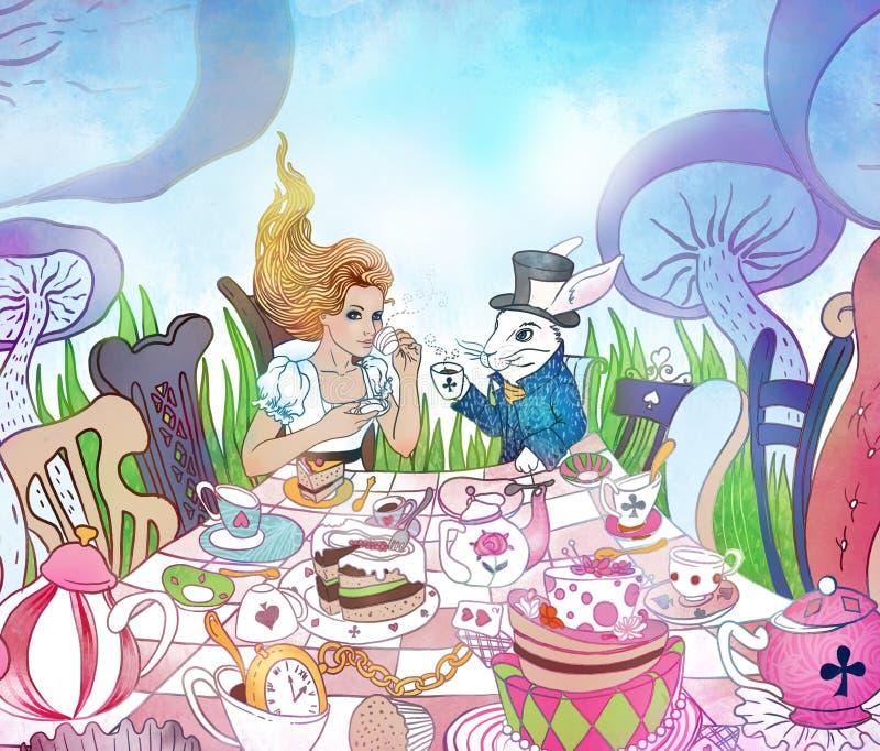 Mad Tea Party. Alice`s Adventures In Wonderland Illustration. Gi ...