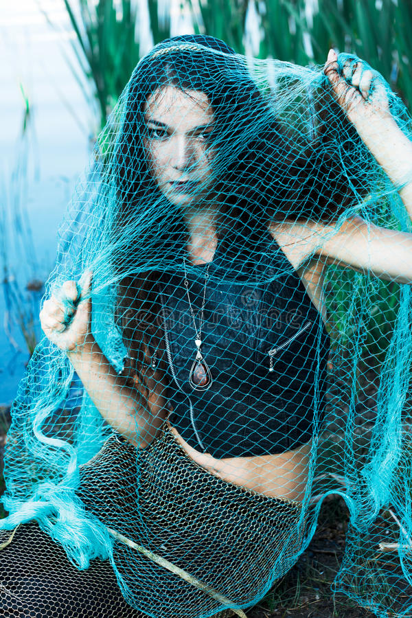 Free Mad Woman Mermaid In Green Net Royalty Free Stock Image - 48289006