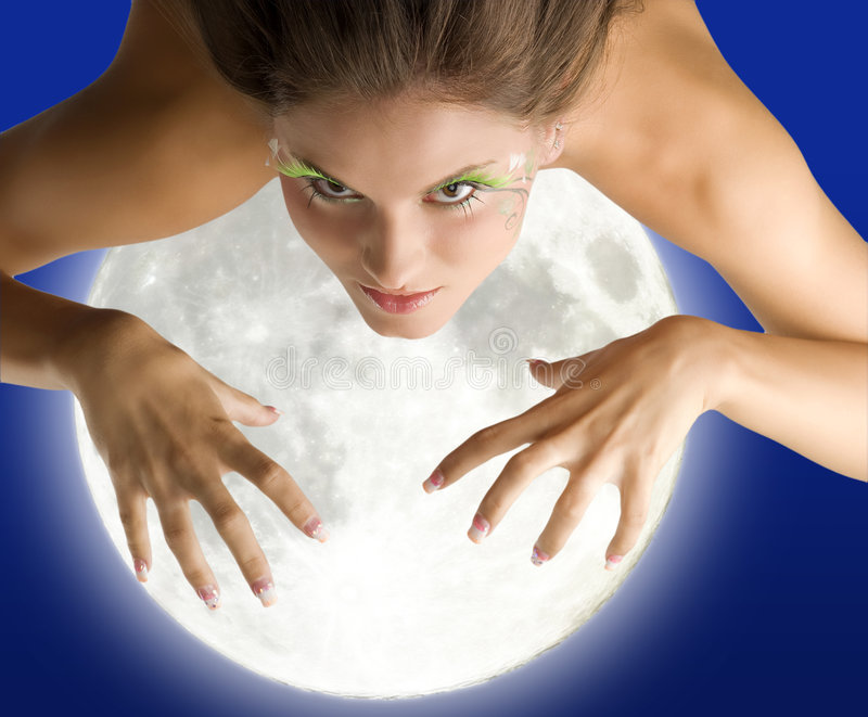 Mad woman moon royalty free stock image
