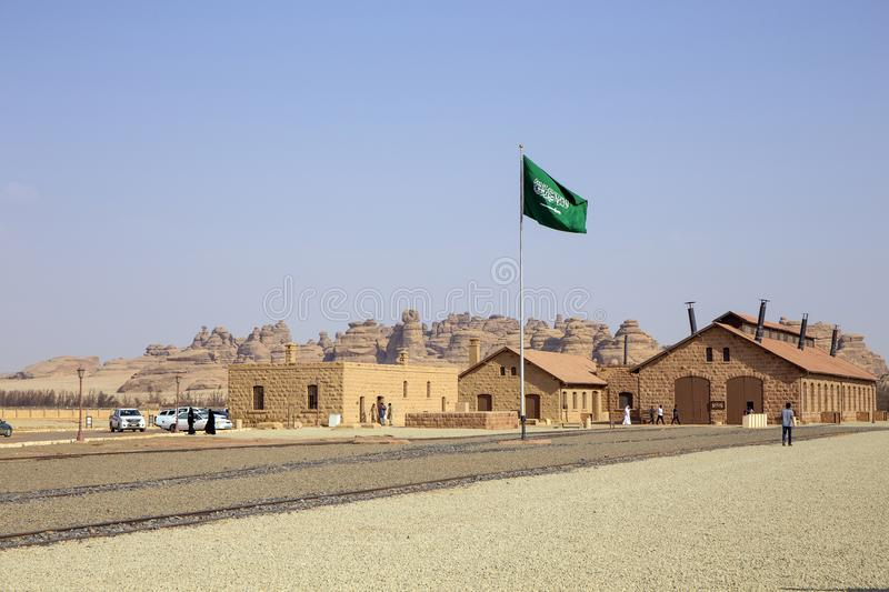Mada`in Saleh. Al Ula, KSA - 2 Sep 2017: Historic Railway Station at , the first World Unesco Heritage site in Saudi stock images