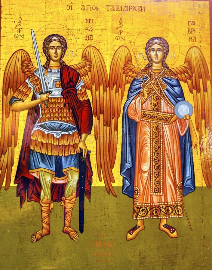 Madaba för kyrka för helgonMichael Angels Golden Icon Saint George ` s Jordanien arkivfoton