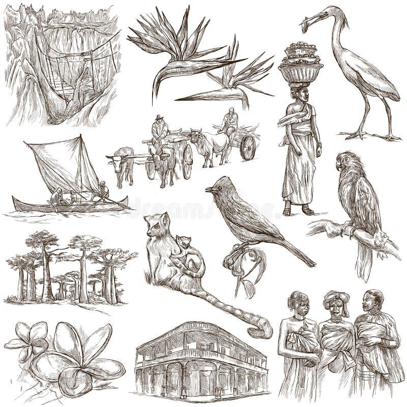 Madagáscar - imagens da vida Curso Desenhos sem redução da mão, ilustração do vetor