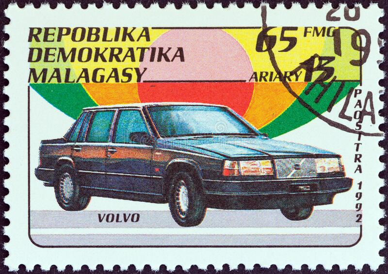MADAGASCAR - CIRCA 1993: A stamp printed in Madagascar from the `Automobiles` issue shows Volvo, circa 1993. MADAGASCAR - CIRCA 1993: A stamp printed in stock photos