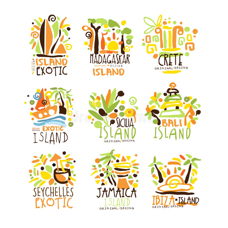 Madagascar, Crete, Bali, Seychelles, Ibiza, Jamaica resort set for label design. Summer beach tourism and rest vector vector illustration