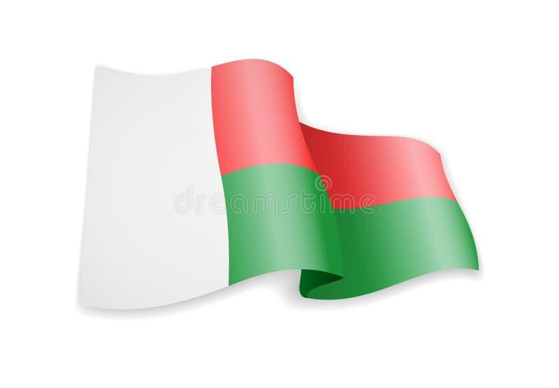 Madagascar flag in the wind. Flag on white vector illustration vector illustration