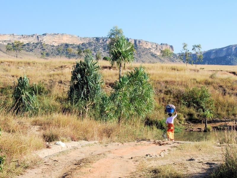 Madagascar, het Nationale Park van Isalo, landschap met vrouw met wasmand stock foto's
