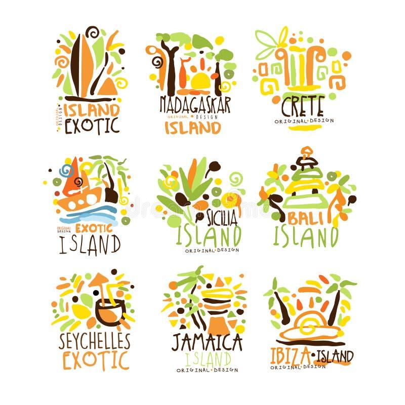 Madagascar, Kreta, Bali, Seychellen, Ibiza, Jamaïca-toevlucht plaatste voor etiketontwerp Het toerisme van het de zomerstrand en  vector illustratie