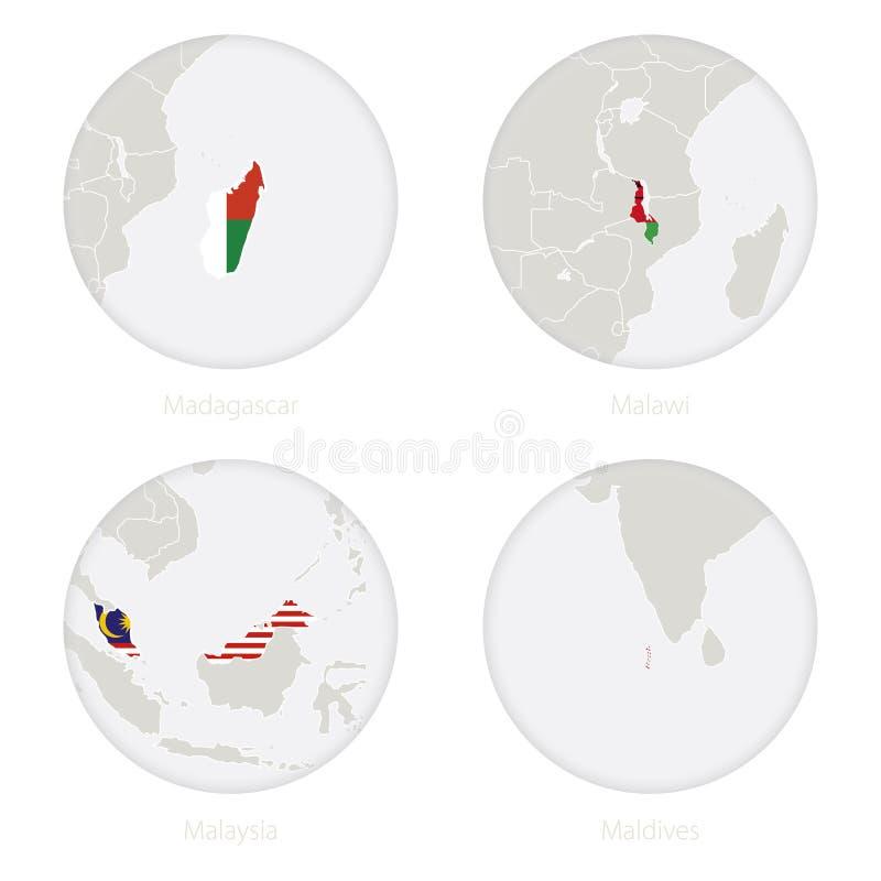 Madagascar, Malawi, Malaysia, Maldiverna översiktskontur och nationsflagga i en cirkel stock illustrationer