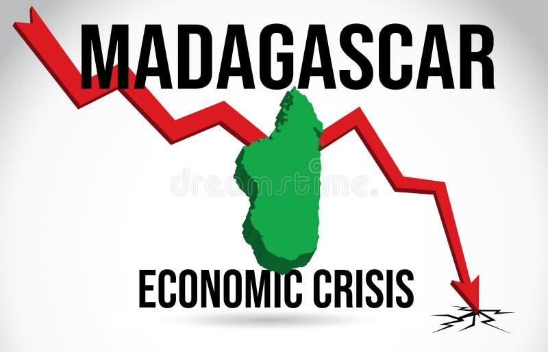Madagascar Map Financial Crisis Economic Collapse Market Crash Global Meltdown Vector. Illustration royalty free illustration