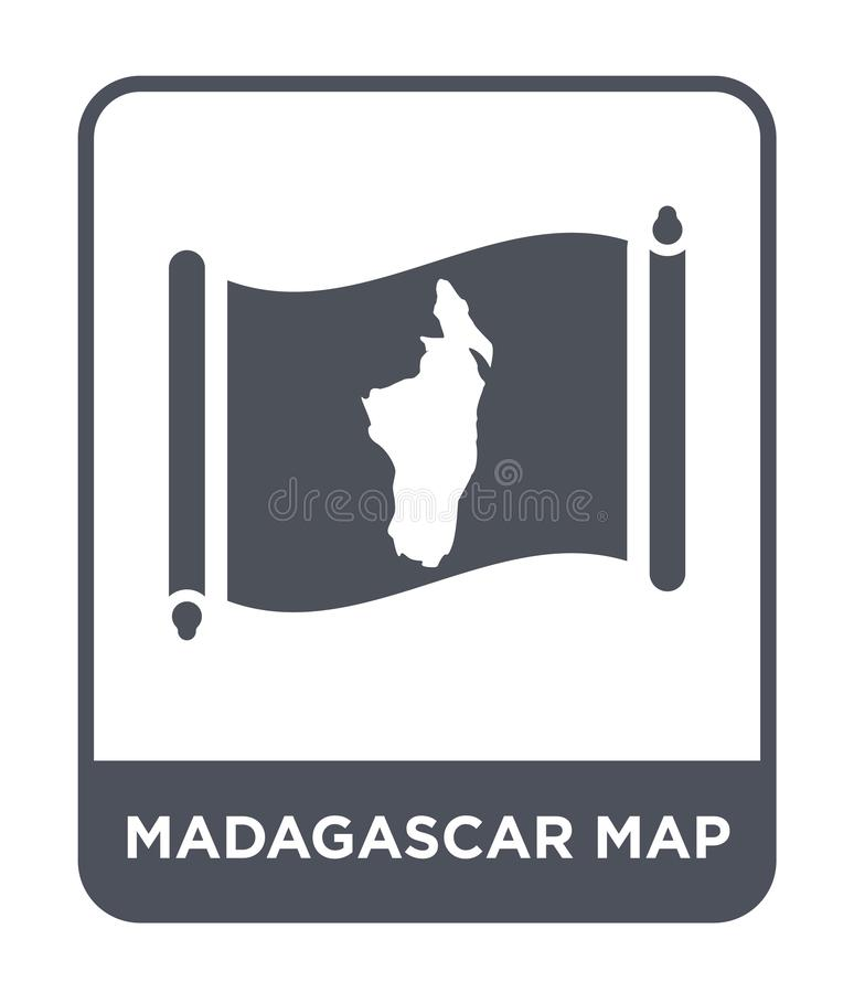 Madagascar map icon in trendy design style. madagascar map icon isolated on white background. madagascar map vector icon simple. And modern flat symbol for web stock illustration