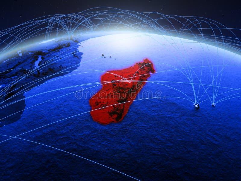 Madagascar op blauwe digitale aarde met internationaal netwerk die mededeling, reis en verbindingen vertegenwoordigen 3d stock fotografie
