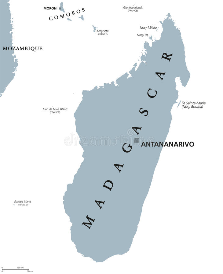 Madagascar political map stock vector Illustration of moroni 96470326