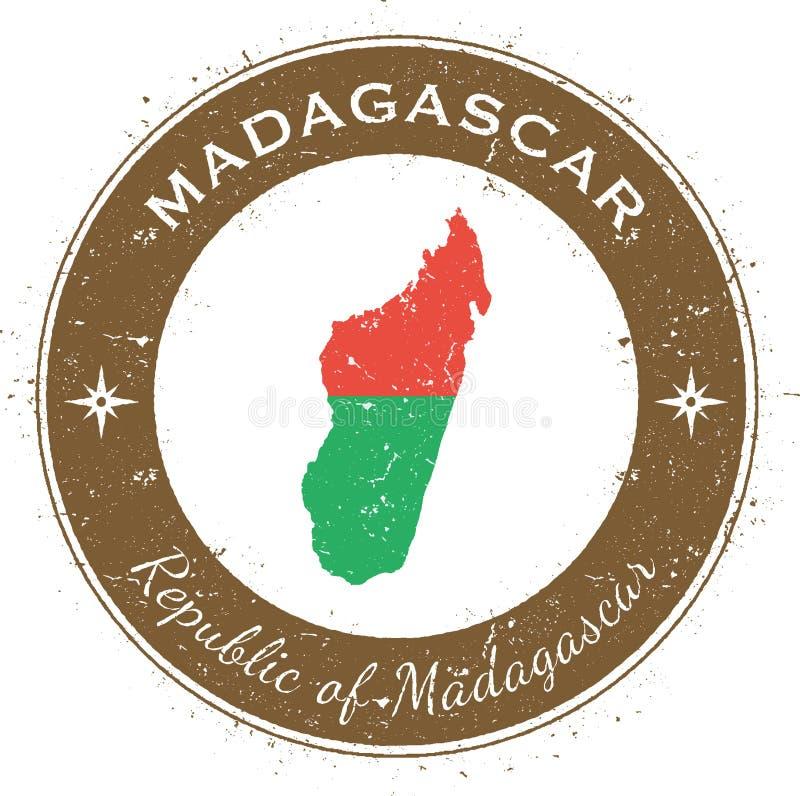 Madagascar runt patriotiskt emblem royaltyfri illustrationer