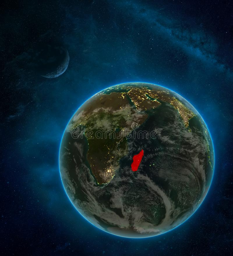 Madagascar from space on Earth at night surrounded by space with Moon and Milky Way. Detailed planet with city lights and clouds. 3D illustration. Elements of stock illustration
