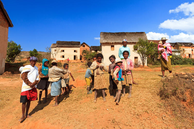 Madagaskar-Dorf stockbild