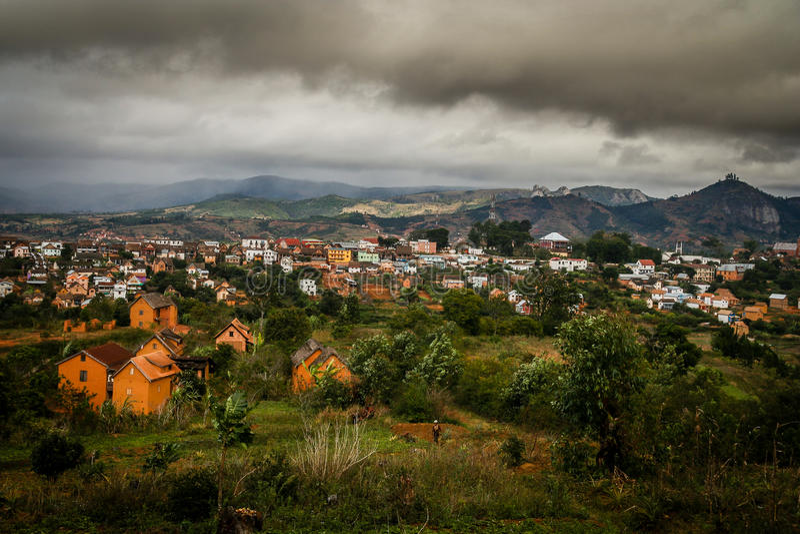 Madagaskar-Stadtlandschaft stockbild