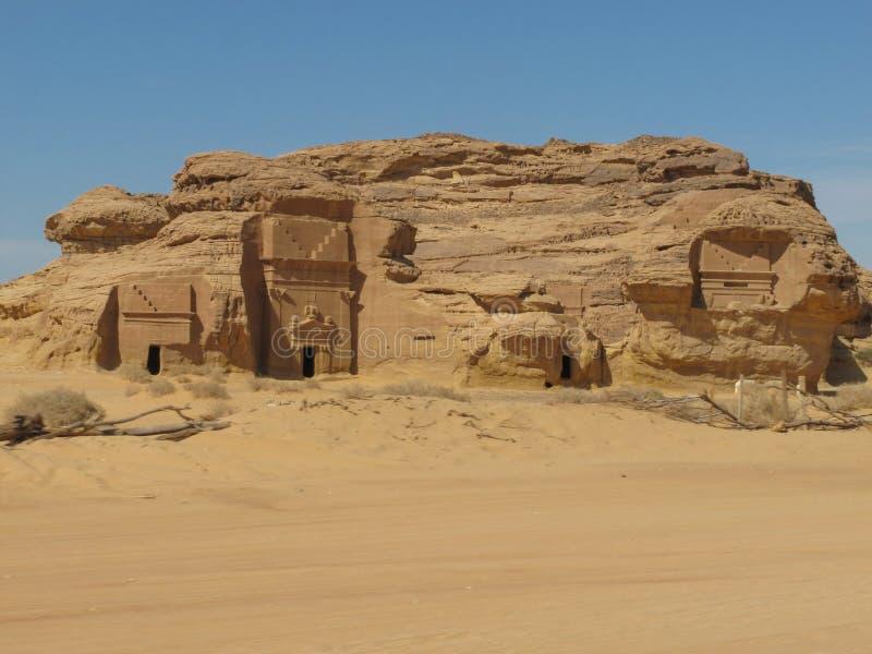Madain Saleh, archeologiczny miejsce z Nabatean grobowami w Arabia Saudyjska KSA obrazy royalty free