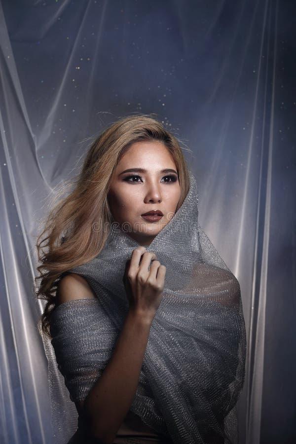 Madame à l'arrière-plan d'étoile avec drapent le tissu argenté gris ha de scintillement photos stock