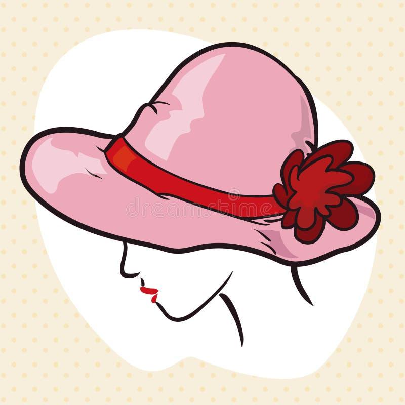 Madame élégante Silhouette avec le chapeau rose élégant, illustration de vecteur illustration de vecteur