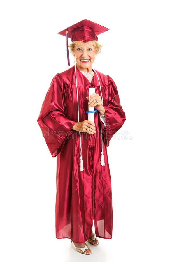 Madame aînée Graduates avec des honneurs photo libre de droits