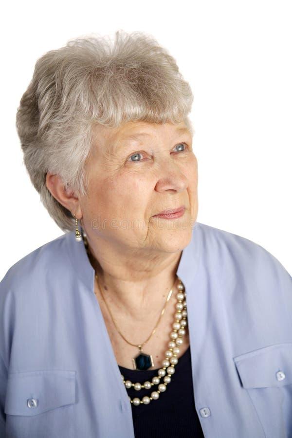 Madame aînée satisfaite images libres de droits