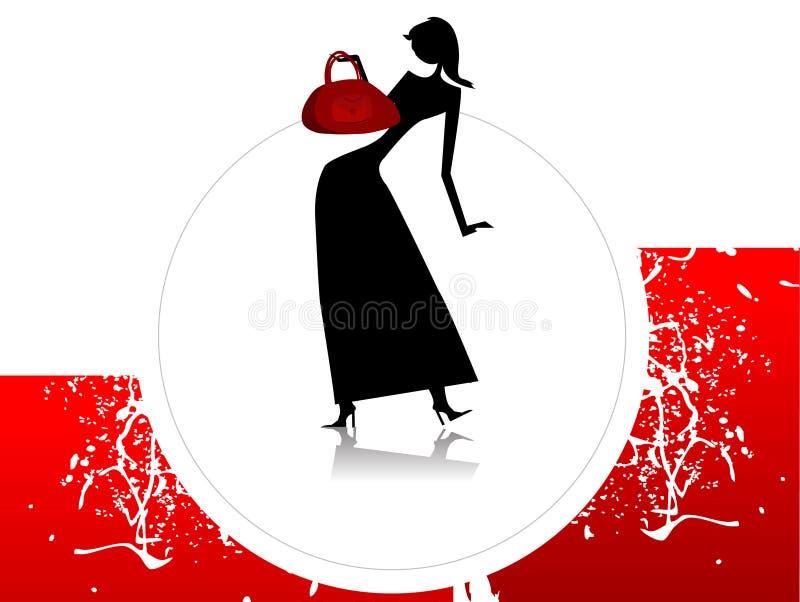 Madame avec la bourse illustration de vecteur