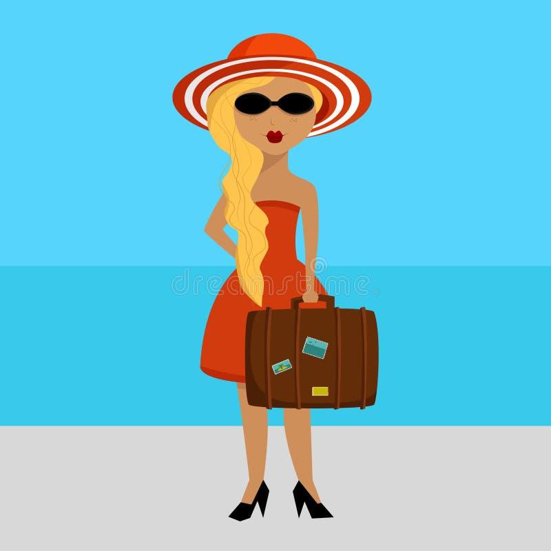 Madame avec le bagage près de la mer illustration de vecteur